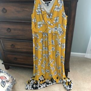 Chaps XL floral yellow and navy dress